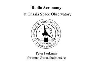 Radio Aeronomy    at Onsala Space Observatory