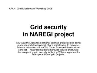 Grid security  in NAREGI project