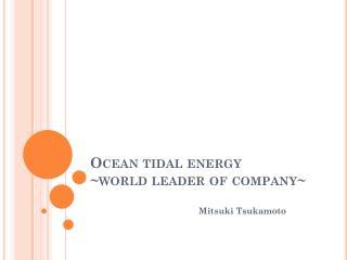 Ocean tidal energy ~ world leader of company~