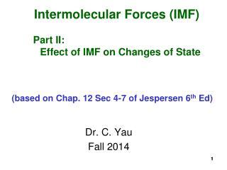 Dr. C. Yau Fall 2014
