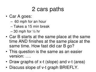 2 cars paths
