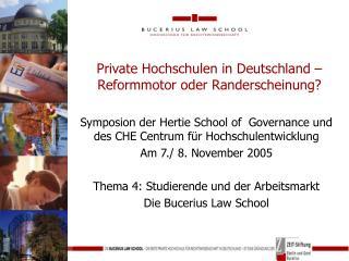 Private Hochschulen in Deutschland –  Reformmotor oder Randerscheinung?