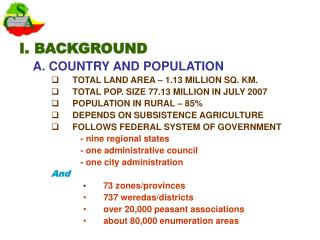 I. BACKGROUND A. COUNTRY AND POPULATION TOTAL LAND AREA – 1.13 MILLION SQ. KM.