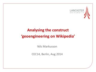 Analysing the construct  ' geoengineering on Wikipedia'