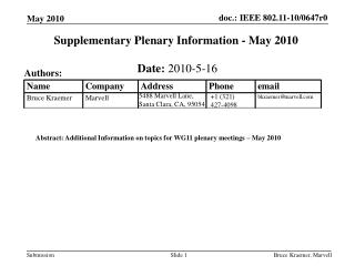 Supplementary Plenary Information - May 2010