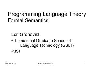 Programming Language Theory Formal Semantics