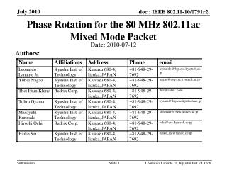 Phase Rotation for the 80 MHz 802.11ac Mixed Mode Packet
