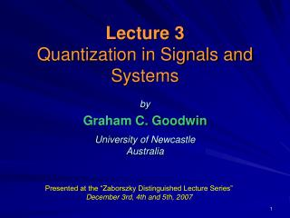 Lecture 3 Quantization in Signals and Systems