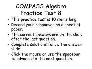 COMPASS Algebra Practice Test 8