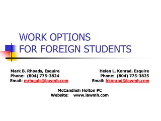 WORK OPTIONS FOR FOREIGN STUDENTS