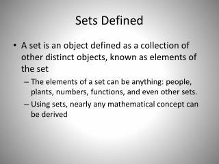 Sets Defined
