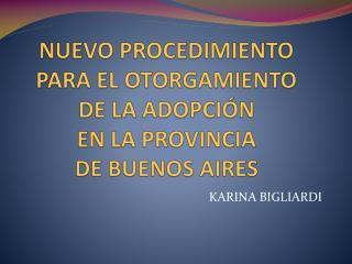 NUEVO PROCEDIMIENTO PARA EL OTORGAMIENTO  DE LA ADOPCIÓN EN LA PROVINCIA  DE BUENOS AIRES