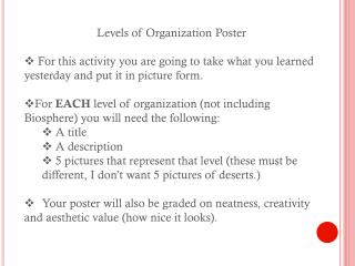 Levels of Organization Poster