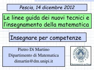 Le linee guida dei nuovi tecnici e l'insegnamento della matematica