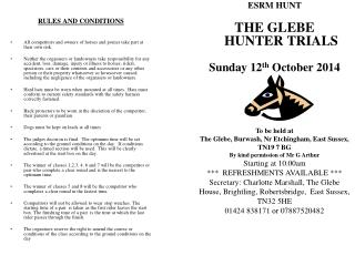 ESRM HUNT THE GLEBE HUNTER TRIALS Sunday 12 th  October 2014