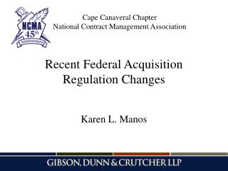 Recent Federal Acquisition Regulation Changes