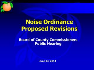 Noise Ordinance Proposed Revisions