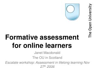Formative assessment for online learners