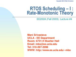 RTOS Scheduling – I : Rate-Monotonic Theory