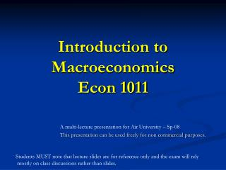 Introduction to Macroeconomics Econ 1011
