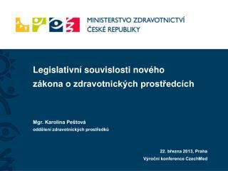 Legislativní souvislosti nového  zákona o zdravotnických prostředcích Mgr. Karolína Peštová