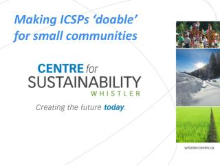 Making ICSPs 'doable'  for small communities