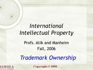 trademark ownership  subject matter