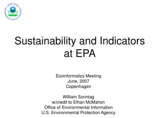 Sustainability and Indicators at EPA