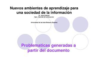 Problematicas generadas a partir del documento