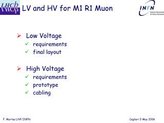 LV and HV for M1 R1 Muon