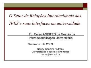 O Setor de Rela��es Internacionais das IFES e suas interfaces na universidade