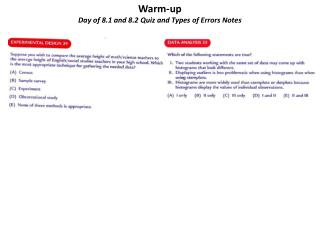 Warm-up Day of 8.1 and 8.2 Quiz and Types of Errors Notes