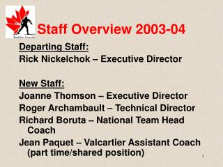 Staff Overview 2003-04