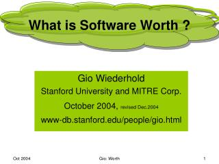 What is Software Worth ?