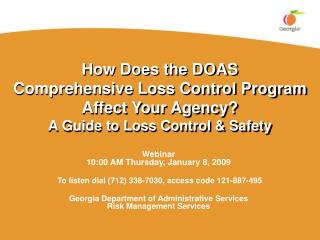 Webinar 10:00 AM Thursday, January 8, 2009  To listen dial (712) 338-7030, access code 121-887-495