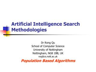 Artificial Intelligence Search Methodologies