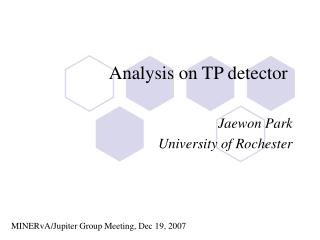 Analysis on TP detector