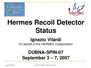 Hermes Recoil Detector Status Ignazio Vilardi On behalf  of the HERMES  Collaboration
