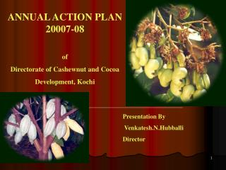 ANNUAL ACTION PLAN 20007-08 of  Directorate of Cashewnut and Cocoa  Development, Kochi