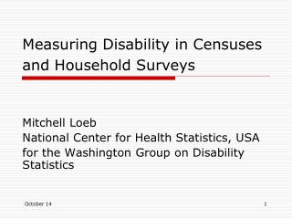 Measuring Disability in Censuses and Household Surveys