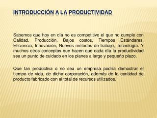 Introducción a la productividad