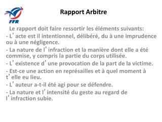 Rapport Arbitre