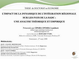 L'IMPACT DE LA DYNAMIQUE DE L'INTÉGRATION RÉGIONALE  SUR LES PAYS DE LA SADC:
