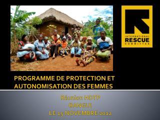 Réunion HDTP BANGUI  LE 15 NOVEMBRE 2012