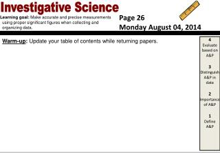 Warm-up :  Update your table of contents while returning papers.