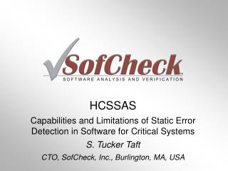HCSSAS Capabilities and Limitations of Static Error Detection in Software for Critical Systems