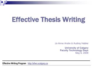 Effective Thesis Writing