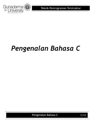 Pengenalan Bahasa C
