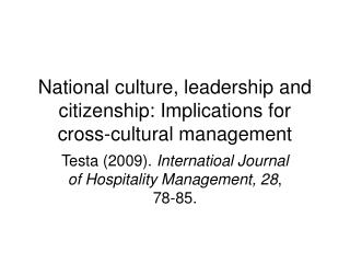 National culture, leadership and citizenship: Implications for cross-cultural management