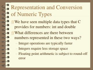 Representation and Conversion of Numeric Types